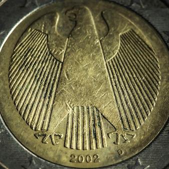 Zdjęcie makro monety 2 euro. szczegółowo makro bliska monety, stara moneta