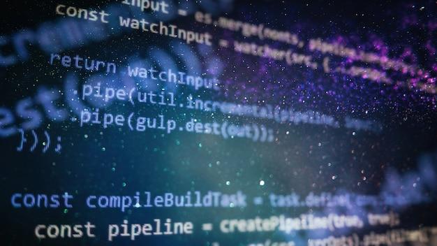 Zdjęcie monitora komputera stacjonarnego. funkcje, zmienne, obiekty javascript. kierownicy projektów pracują nad nowym pomysłem. proces tworzenia przyszłej technologii.