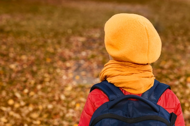 Zdjęcie od tyłu małej dziewczynki w żółtym berecie na tle jesiennej polany z opadłymi liśćmi