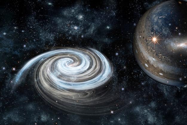 Zdjęcie planety w kosmosie, mgławicy i gwiazd. elementy tego obrazu zostały umeblowane