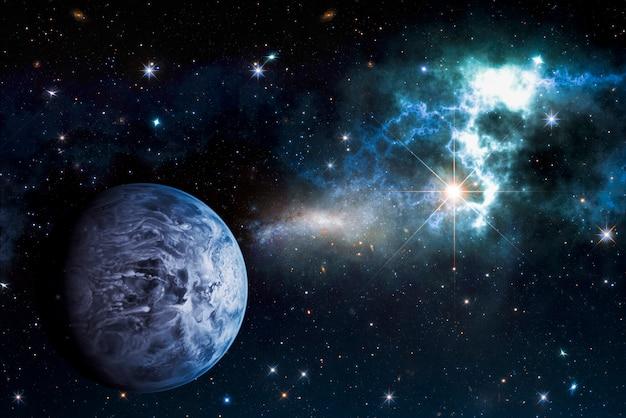 Zdjęcie planety w kosmosie, mgławicy i niebie. tło koncepcji astronomii. elementy tego zdjęcia zostały umeblowane