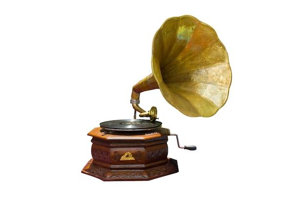 Zdjęcie retro gramofon z dyskiem na białym tle