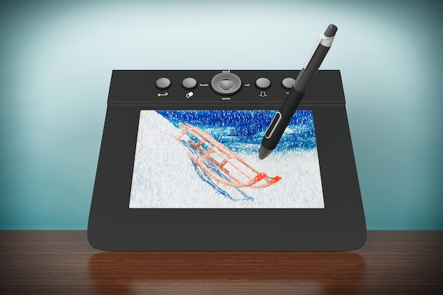 Zdjęcie w starym stylu. cyfrowy tablet graficzny z rysowaniem piórem i sankami na stole