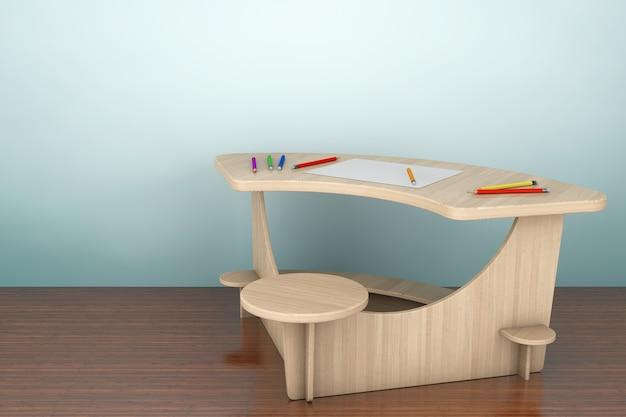 Zdjęcie w starym stylu. drewniane biurko do nauki z ołówkami i papierem obrazkowym na podłodze. renderowanie 3d