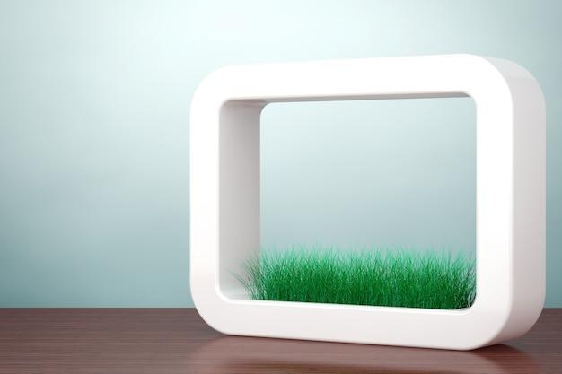 Zdjęcie w starym stylu. trawa w białej ceramiki doniczka na stole. renderowanie 3d