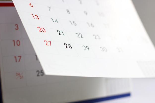 Zdjęcie z bliska kalendarza