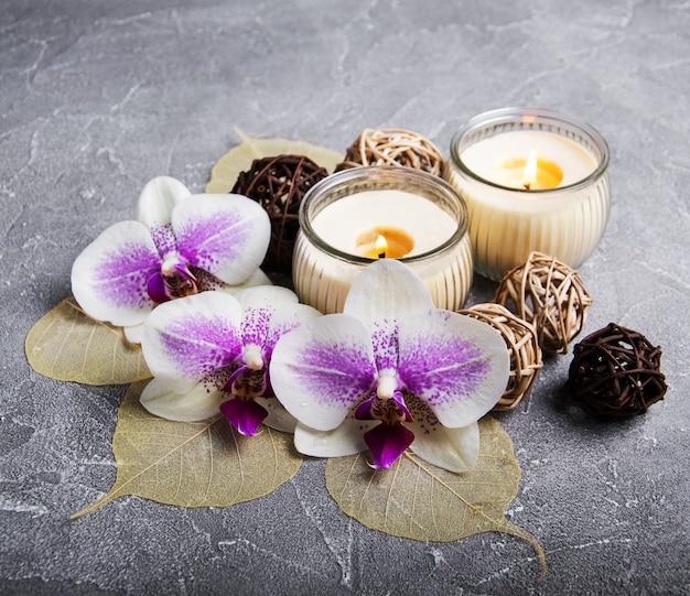 Zdroju pojęcie z storczykowymi kwiatami