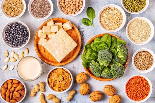Zdrowa dieta wegańska żywność, wegetariańskie źródła białka. widok z góry.