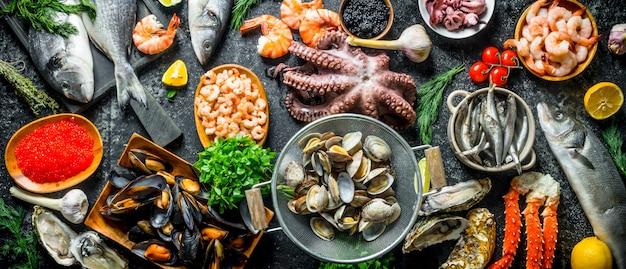 Zdrowa żywność dietetyczna. różnorodne świeże owoce morza.