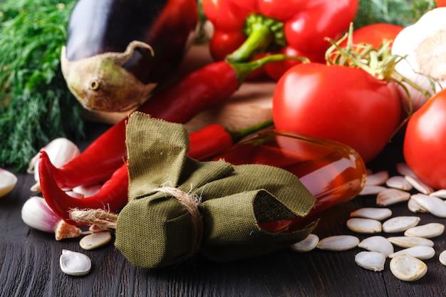 Zdrowa żywność, modne produkty dietetyczne, warzywa, płatki zbożowe, orzechy. obrazy olejne