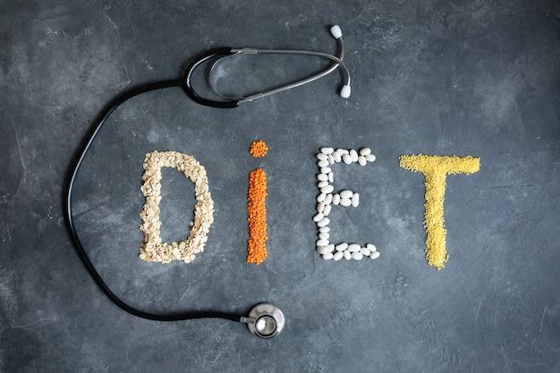 Zdrowe jedzenie dla streszczenie diety serca. dietetyk oferuje zdrową dietę. zdrowy tryb życia. zdrowe jedzenie w sercu i kardiograf na tablicy medycznych streszczenie.