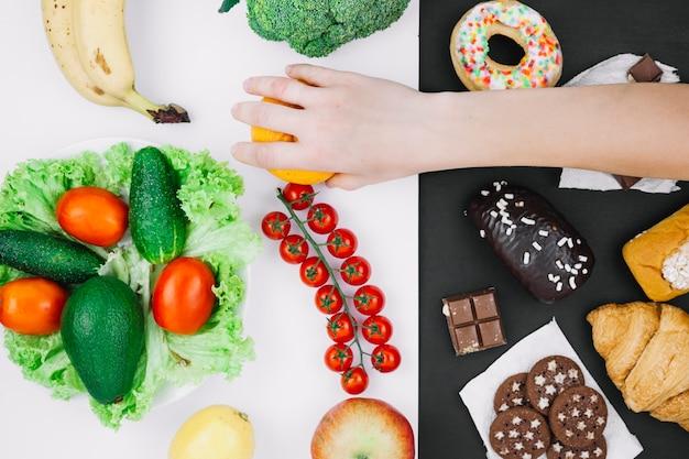 Zdrowe jedzenie vs niezdrowe jedzenie