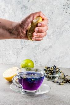 Zdrowe napoje, organiczna herbata z kwiatem groszku motylkowego z limonkami i cytrynami