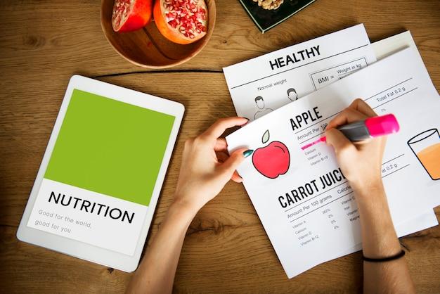 Zdrowe odżywianie jedzenie styl życia organiczna grafika wellness
