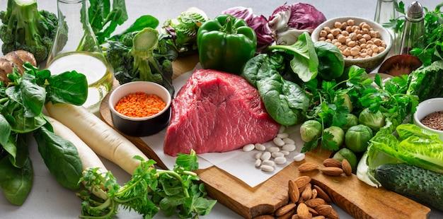 Zdrowe odżywianie zrównoważone odżywianie składników czyste jedzenie koncepcja