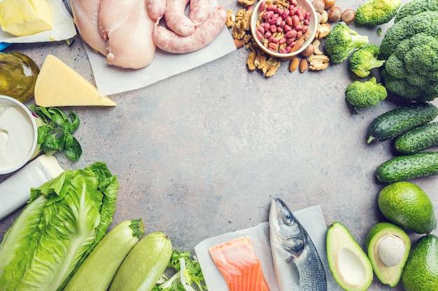 Zdrowe produkty o niskiej zawartości węglowodanów. pojęcie diety ketogenicznej