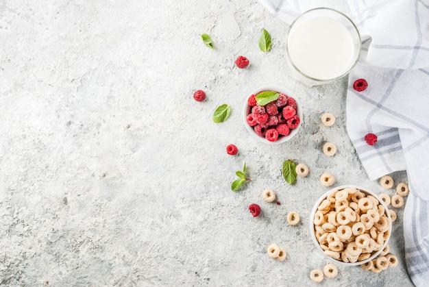 Zdrowe śniadanie składników. krążki kukurydziane na płatki śniadaniowe, szklanki mleka lub jogurtu, maliny i mięta