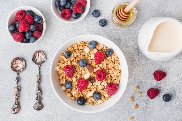 Zdrowe śniadanie. świeży granola, musli z jogurtem i jagody na szarym tle.