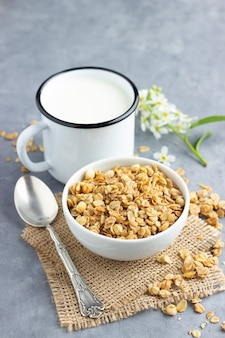 Zdrowe śniadanie z musli i mlekiem.