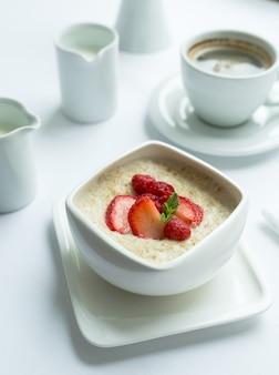 Zdrowe śniadanie z płatkami owsianymi i świeżymi jagodami. zdrowie i dieta.