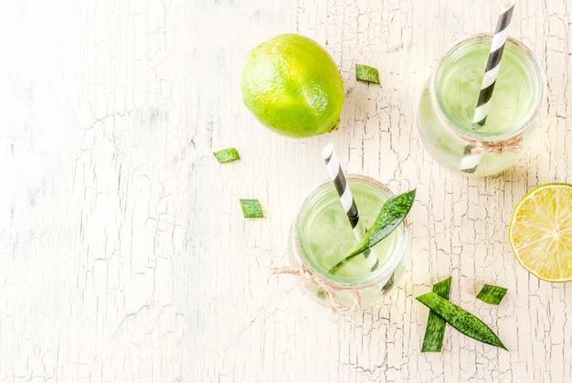 Zdrowy egzotyczny detox napój aloe vera lub sok z kaktusa z limonki na jasnym tle betonu