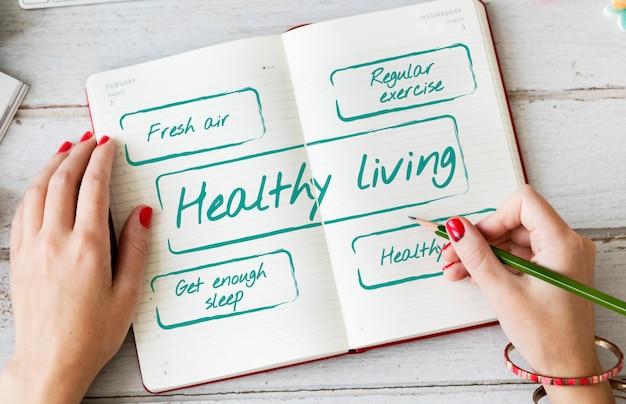 Zdrowy tryb życia excersice dieta odżywianie koncepcja graficzna