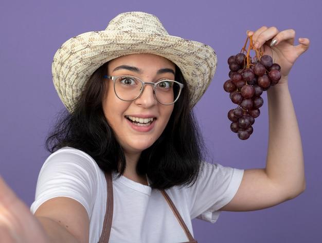Zdziwiona młoda brunetka ogrodniczka w okularach optycznych iw mundurze na sobie kapelusz ogrodniczy trzyma winogrona patrząc z przodu na białym tle na fioletowej ścianie
