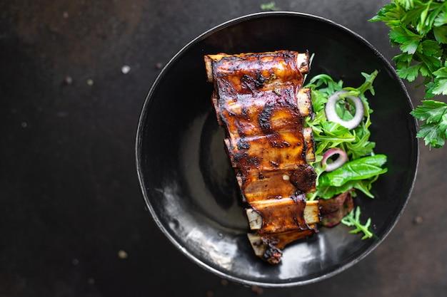 Żeberka mięso grill mięso wieprzowina smażona sos wołowy lub jagnięcina ostre przyprawy