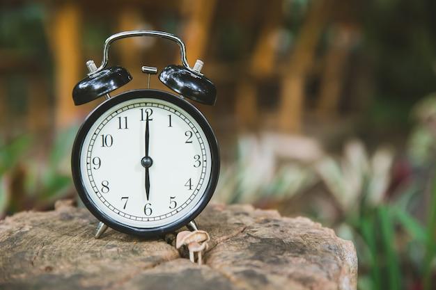 Zegar na drewnianym drzewnym natury tła czasie przy godzina szósta rano