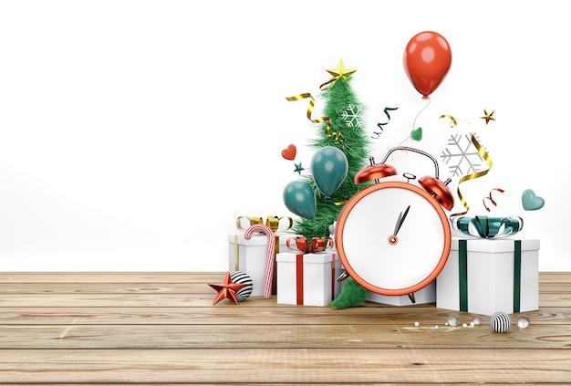 Zegar odliczający w czasie nowego roku z pudełkami na prezenty wigilijne