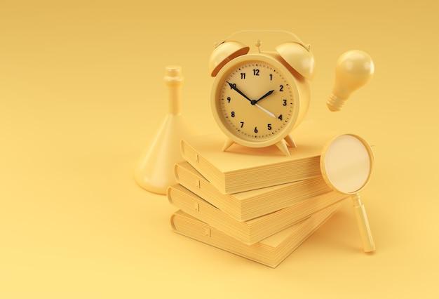 Zegar renderowania 3d z książkami w stylu minimalistycznym ilustracja.