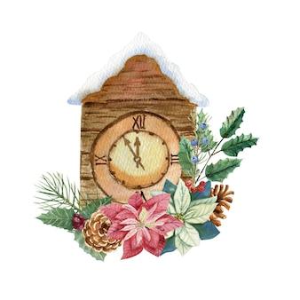 Zegar sylwestrowy z gałązkami jodły, szyszkami, kwiatami pouncettia i ostrokrzewem. akwarela ilustracja.