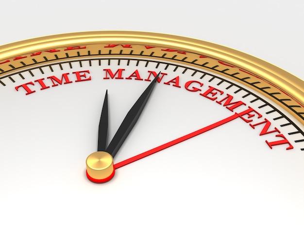 Zegar ze słowami czas dla managementl na twarzy