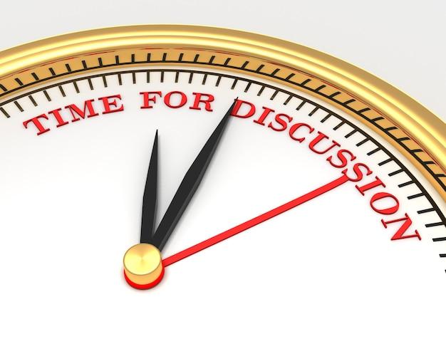 Zegar ze słowami czas na dyskusję na twarzy