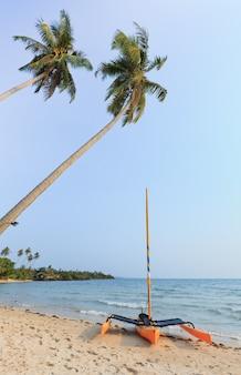 Żeglarz na plaży i błękitne niebo