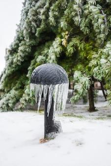 Żelazna lampa w kształcie grzyba pokryta lodem i soplami piękne zielone świerki pokryte śniegiem mroźna pogoda zimowe śnieżne sceny