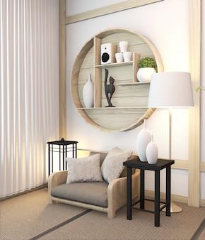 Zen nowoczesny pokój japoński wnętrze z półką drewniany pokój japonia i tatami mat. renderowania 3d
