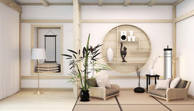 Zen nowoczesny pokój japoński wnętrze z półką drewniany pomysł pokoju japonii i mat tatami. renderowanie 3d