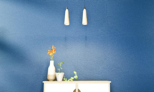 Zen nowoczesny pusty ciemnoniebieski pokój, minimalistyczny design w japońskim stylu. renderowania 3d