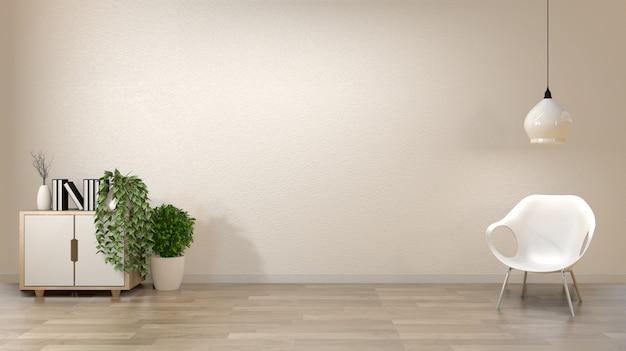 Zen salonu pusty biały ścienny tło z dekoraci japan stylem.