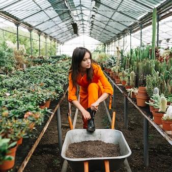 Żeńska ogrodniczka jest ubranym wellington but w szklarni