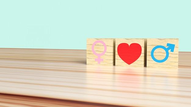 Żeński i męski symbol z sercem na drewnianych sześcianach, heteroseksualny związku pojęcie
