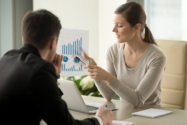 Żeński pieniężny doradca wyjaśnia biznesplan