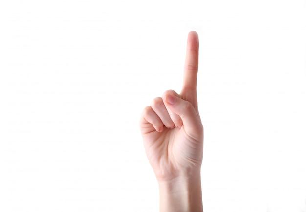 Żeński ręka gest odizolowywający na białym tle