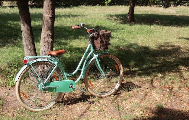 Żeński rower retro z koszem w parku. koncepcja aktywnego stylu życia.