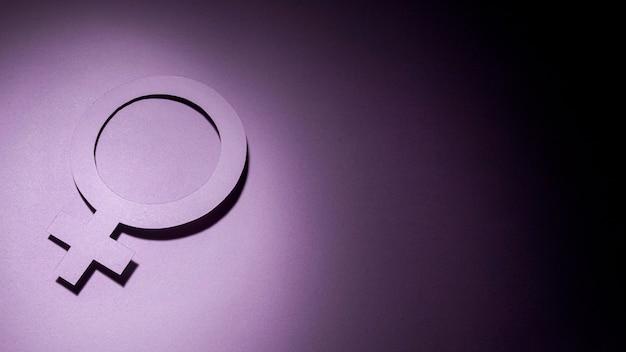 Żeński symbol czarne fioletowe tło gradientowe