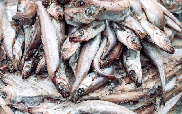 Zepsute ryby na rynku.