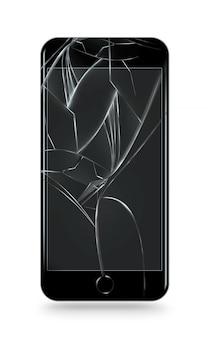 Zepsuty ekran telefonu komórkowego na białym tle.
