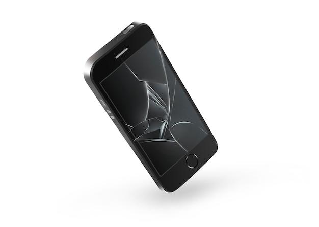 Zepsuty ekran telefonu komórkowego na białym tle