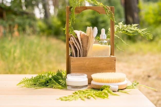 Zero waste akcesoria łazienkowe koncepcja pielęgnacji ciała spa ekologiczny styl życia